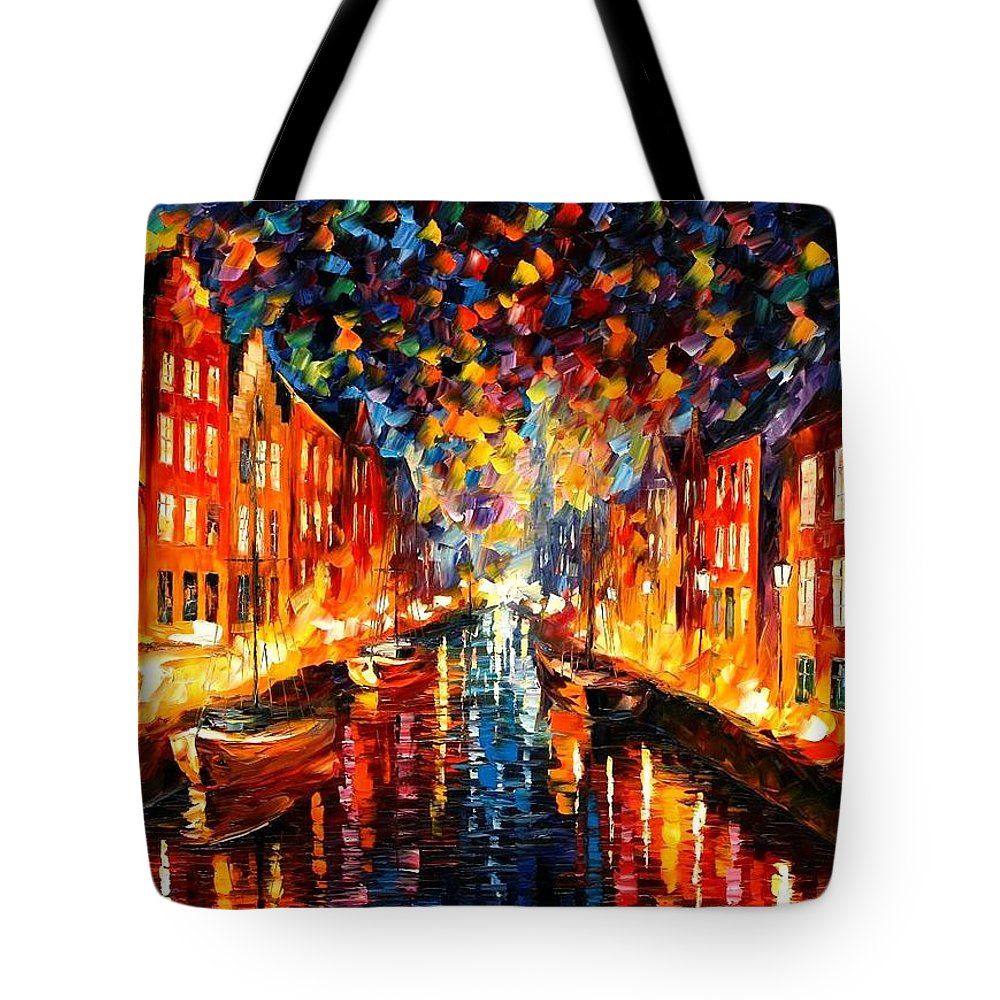 Afremov Tote Bag featuring the painting Copenhagen by Leonid Afremov