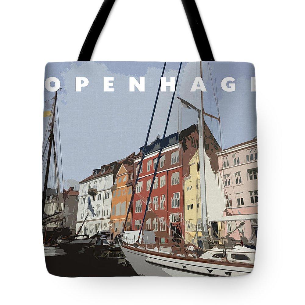 Copenhagen Tote Bag featuring the digital art Copenhagen Memories by Linda Woods
