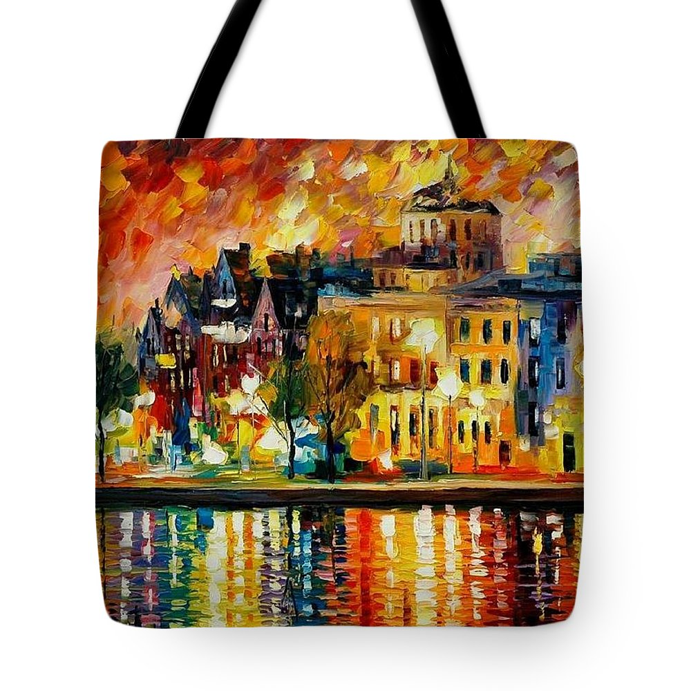 City Tote Bag featuring the painting Copenhagen Original Oil Painting by Leonid Afremov