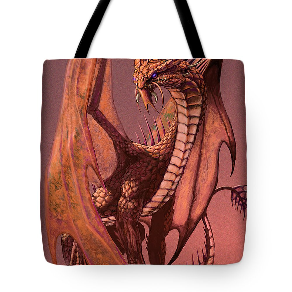 Dragon Tote Bag featuring the digital art Copper Dragon by Stanley Morrison