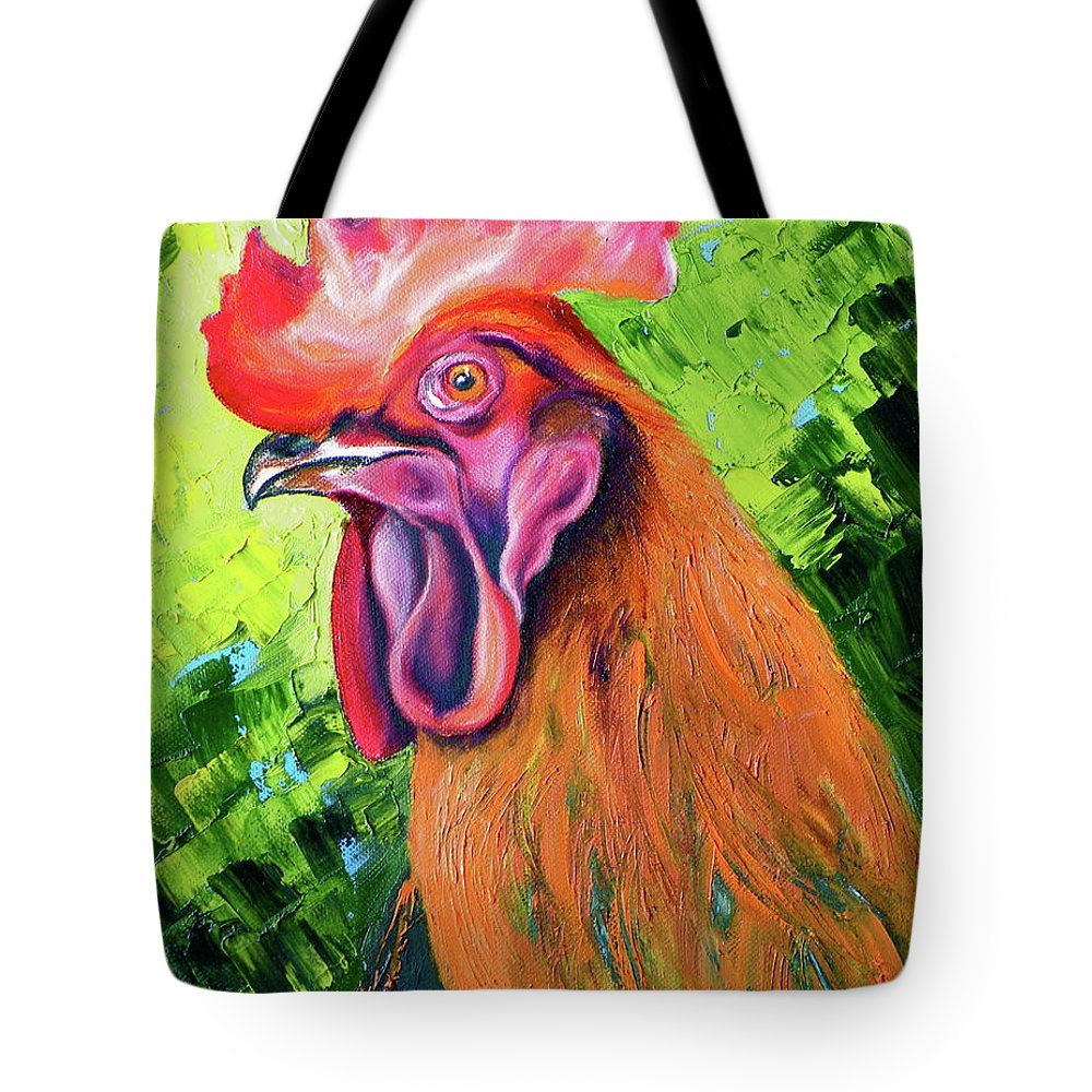 Rooster Tote Bag featuring the painting Copper Maran French Rooster by Susan A Becker