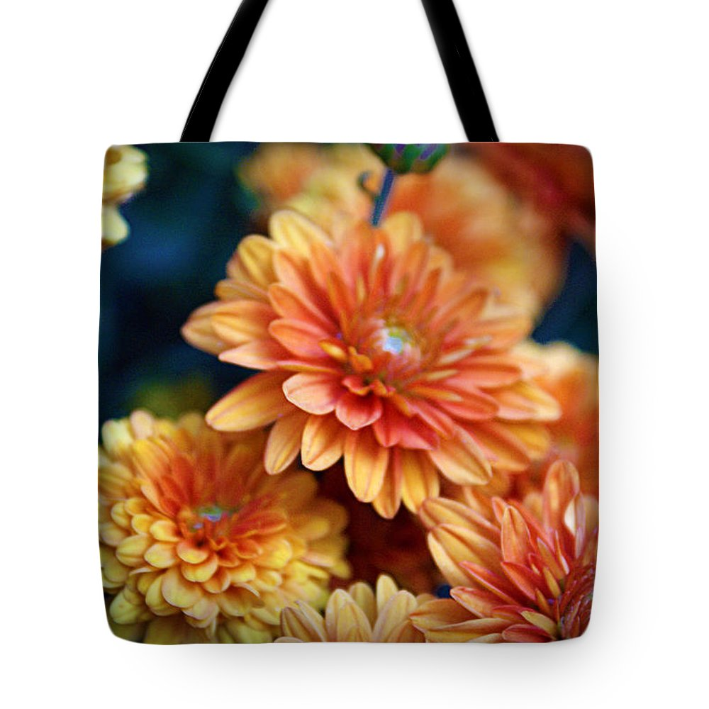 Flowers Tote Bag featuring the photograph Copper Mums by Cricket Hackmann