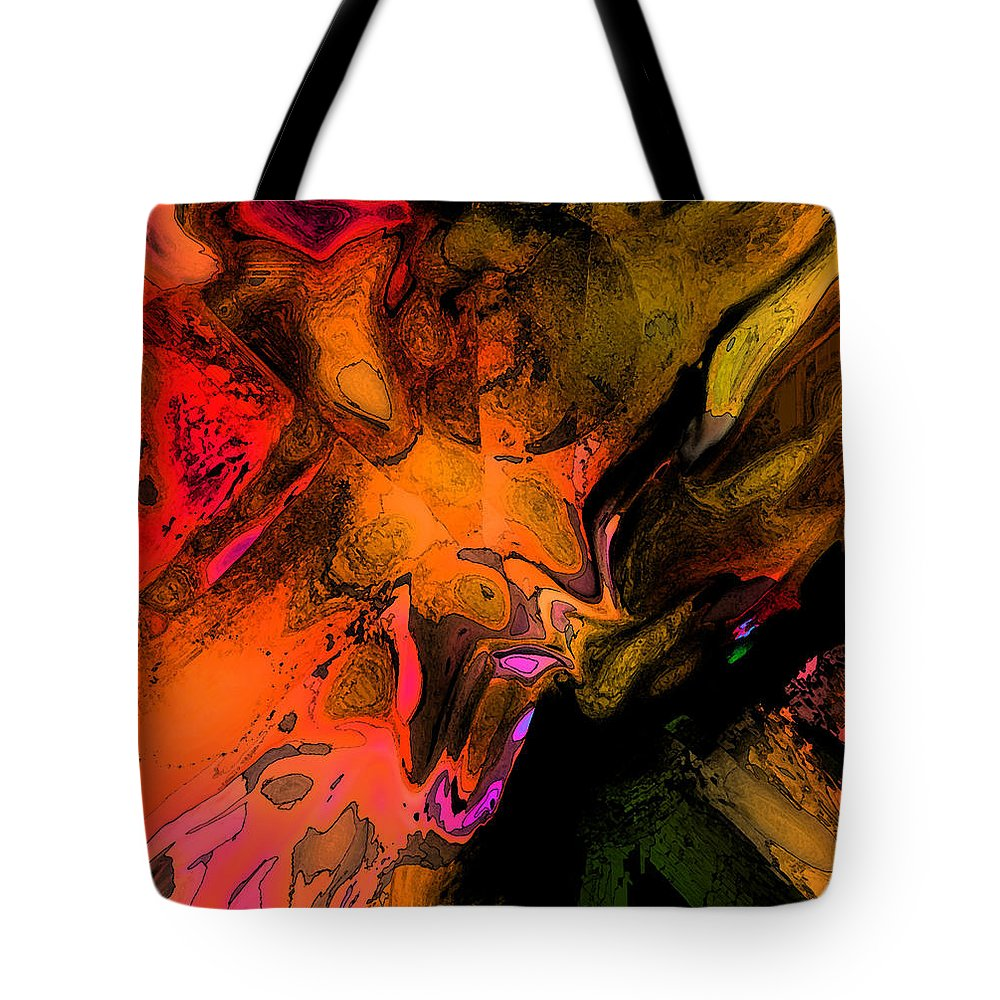 Abstract Tote Bag featuring the digital art Copper Smelter by Ian MacDonald