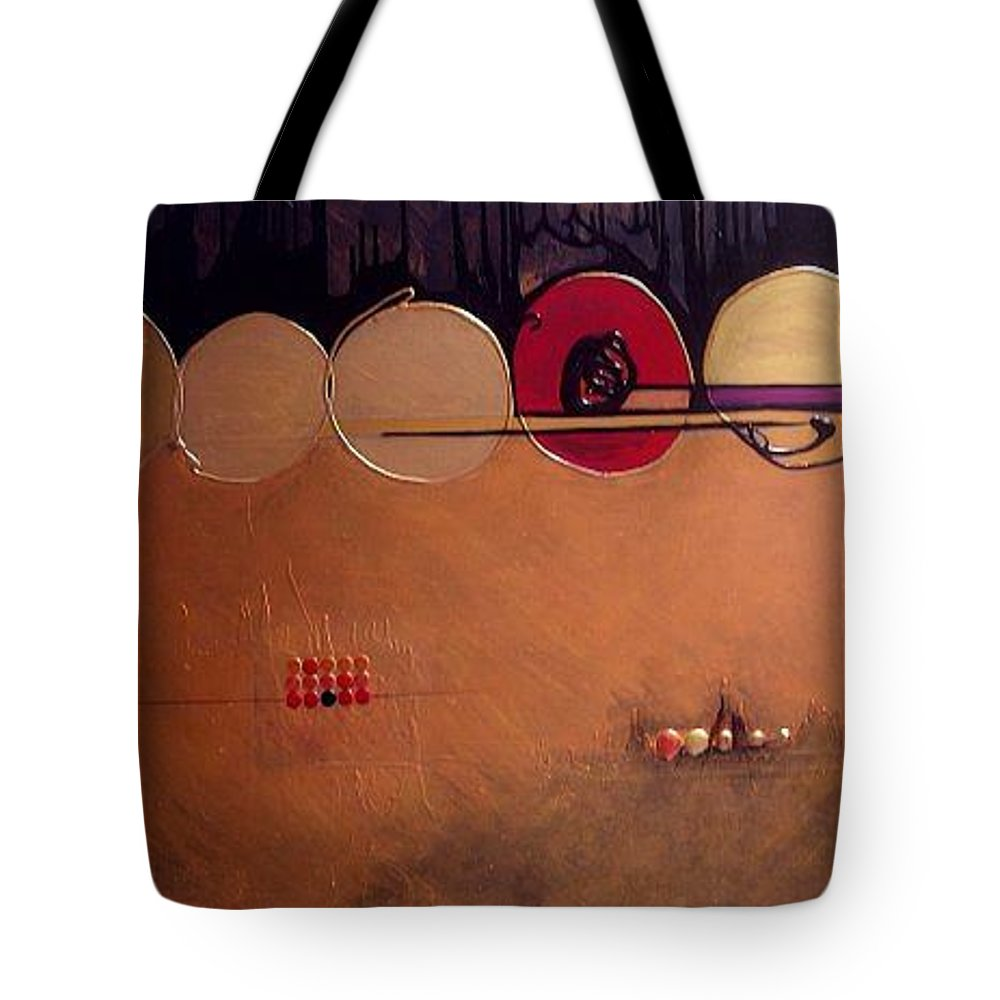 Mixed Media Tote Bag featuring the painting Coppermind by Marlene Burns