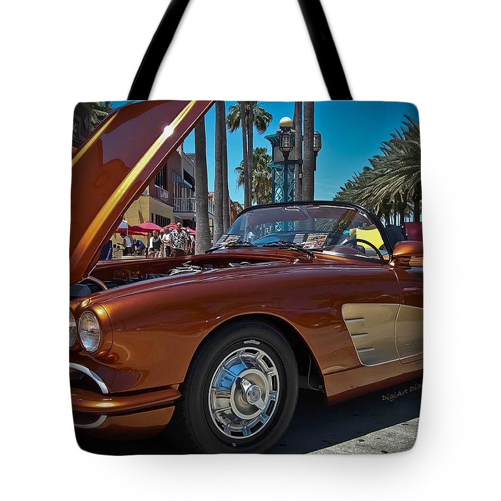 Chevrolet Tote Bag featuring the photograph Coppertone Spf 57 by DigiArt Diaries by Vicky B Fuller