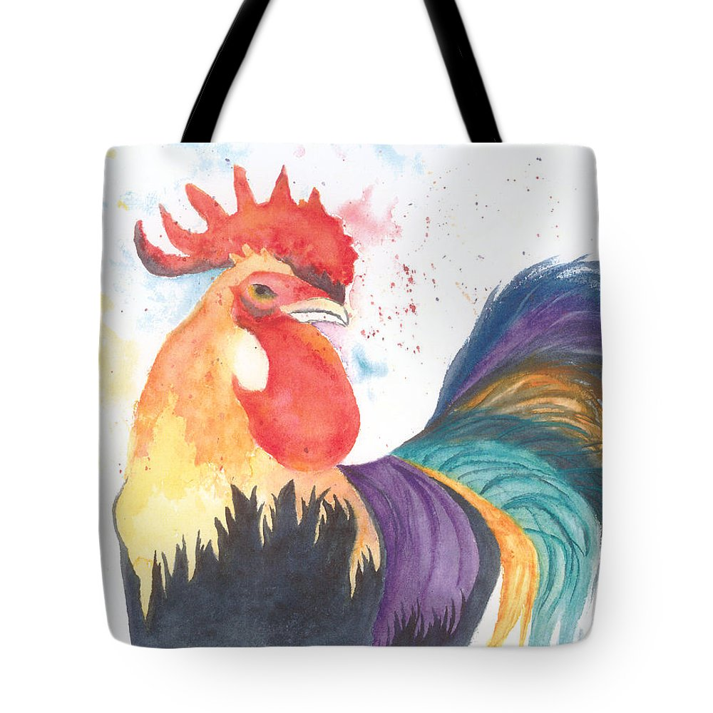Rooster Tote Bag featuring the painting Coq Au Vin by Wendy Cunico
