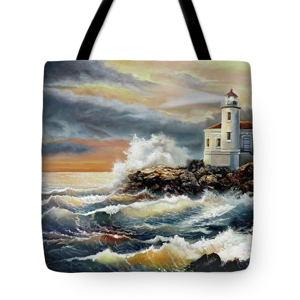 Keywords Coquille River Lighthouse Oregon Tote Bag featuring the painting Coquille River Lighthouse At Hightide by Regina Femrite