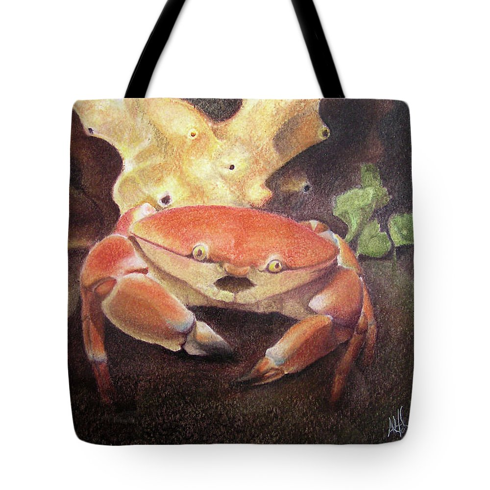 Animals Tote Bag featuring the painting Coral Crab by Adam Johnson