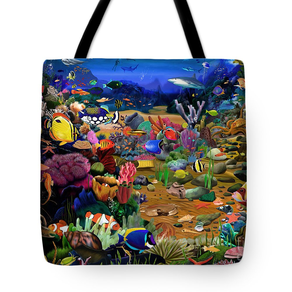 Gerald Newton Tote Bag featuring the digital art Coral Reef by MGL Meiklejohn Graphics Licensing
