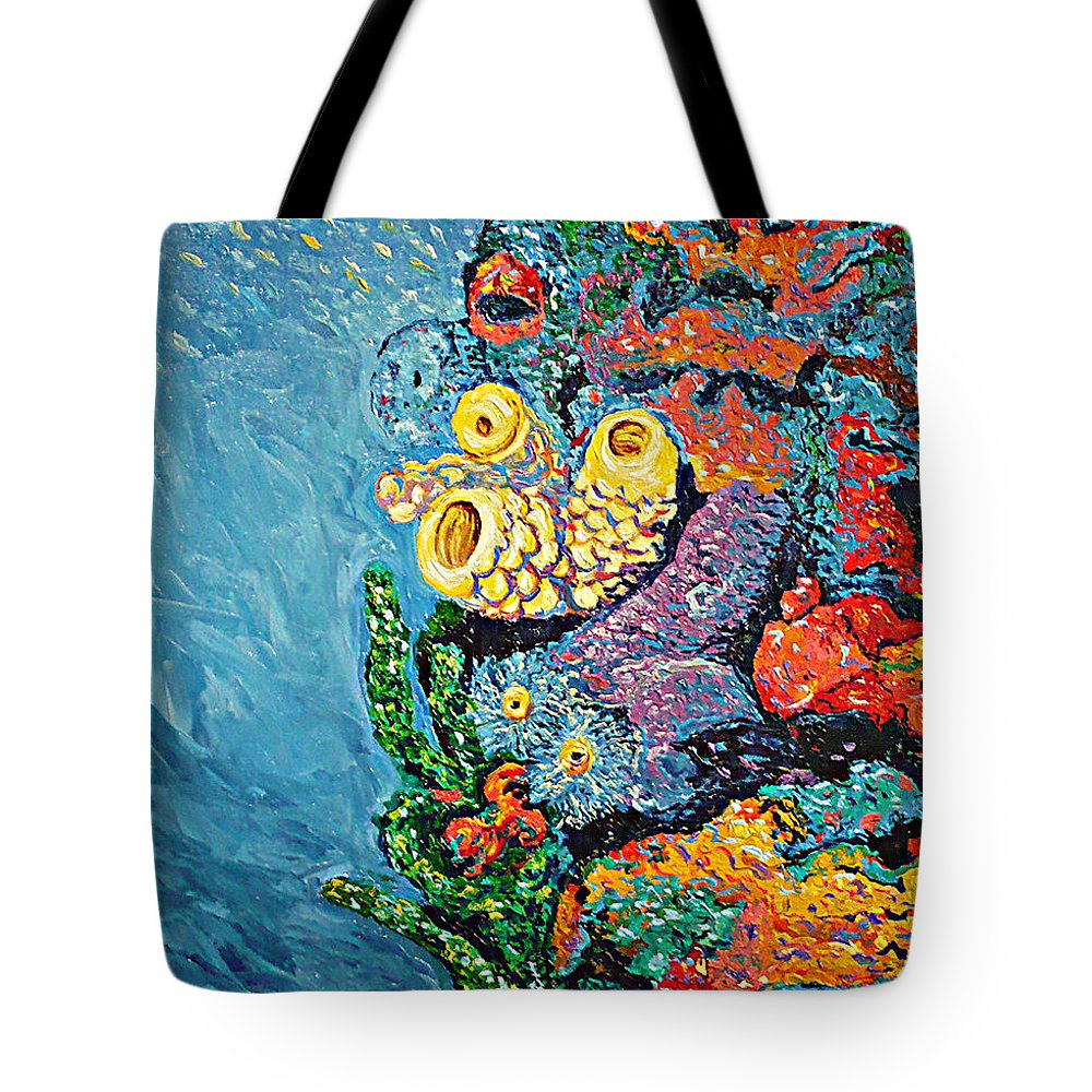 Coral Tote Bag featuring the painting Coral With Cucumber by Ericka Herazo