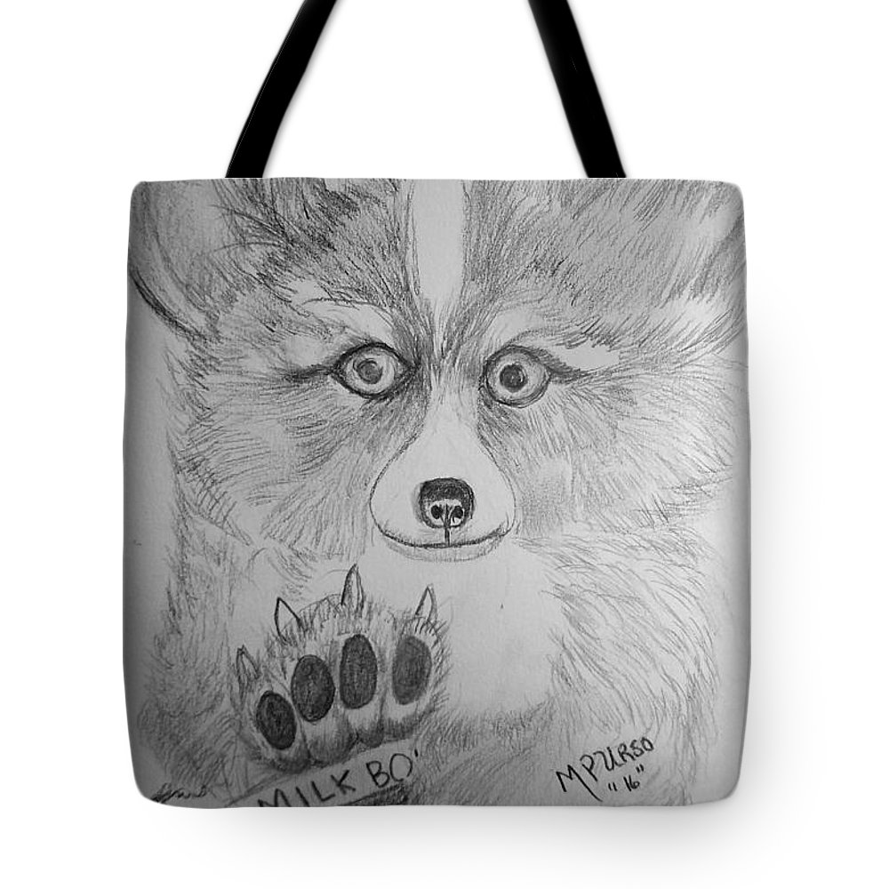 Corgi Tote Bag featuring the drawing Corgi Pup by Maria Urso