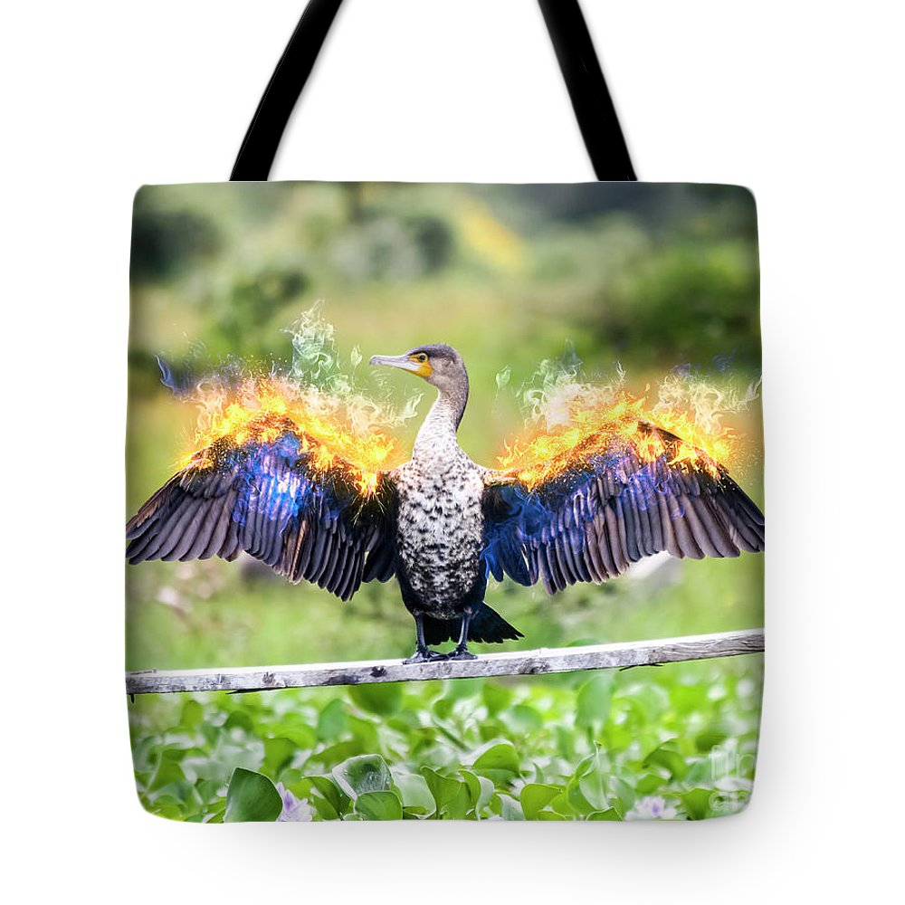 White Breasted Tote Bag featuring the photograph Cormorant Dries Its Wings by Humorous Quotes