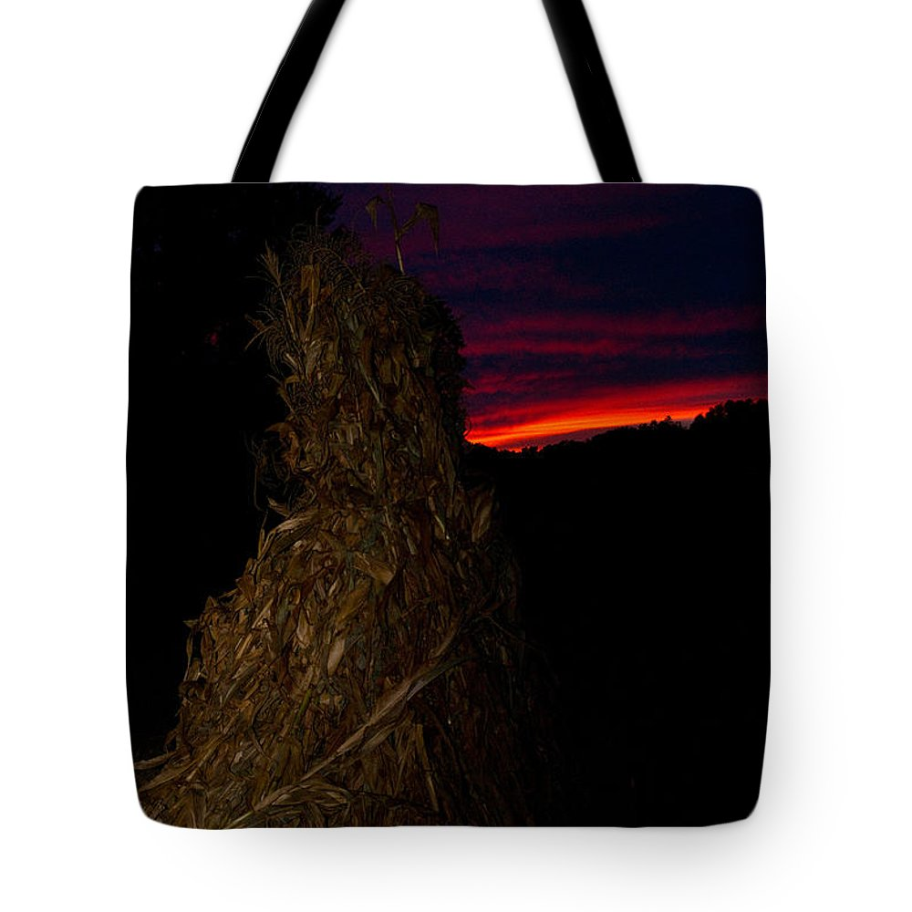 Kentucky Tote Bag featuring the photograph Corn Shock At Twilight by Douglas Barnett