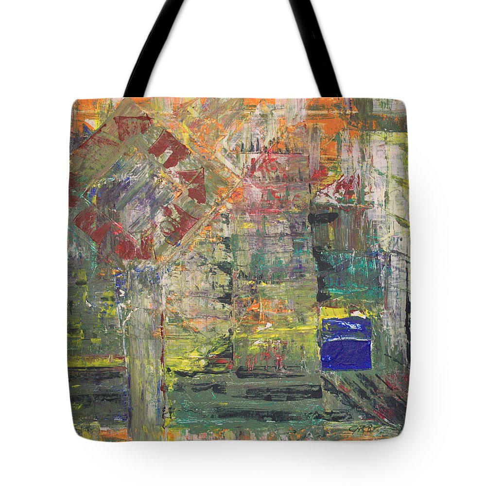 Abstract Painting Tote Bag featuring the painting Corner Deli by J R Seymour