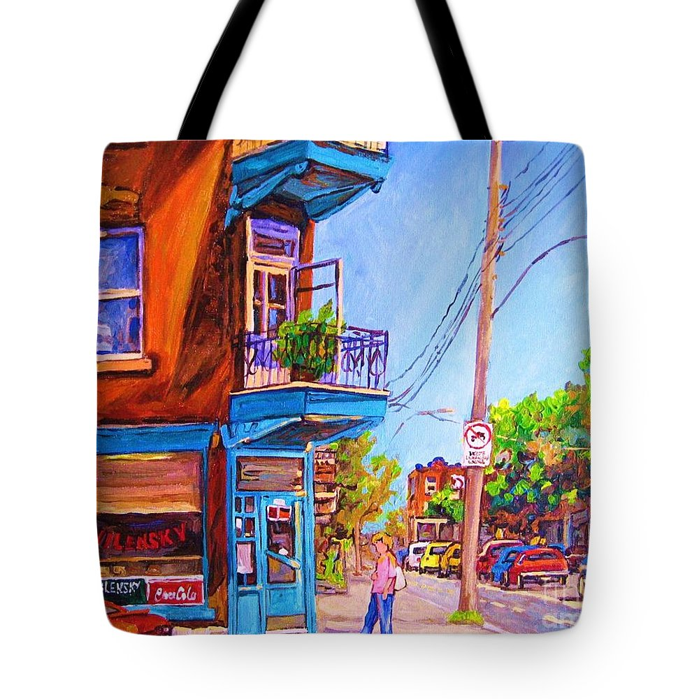 Wilenskys Corner Fairmount And Clark Tote Bag featuring the painting Corner Deli Lunch Counter by Carole Spandau