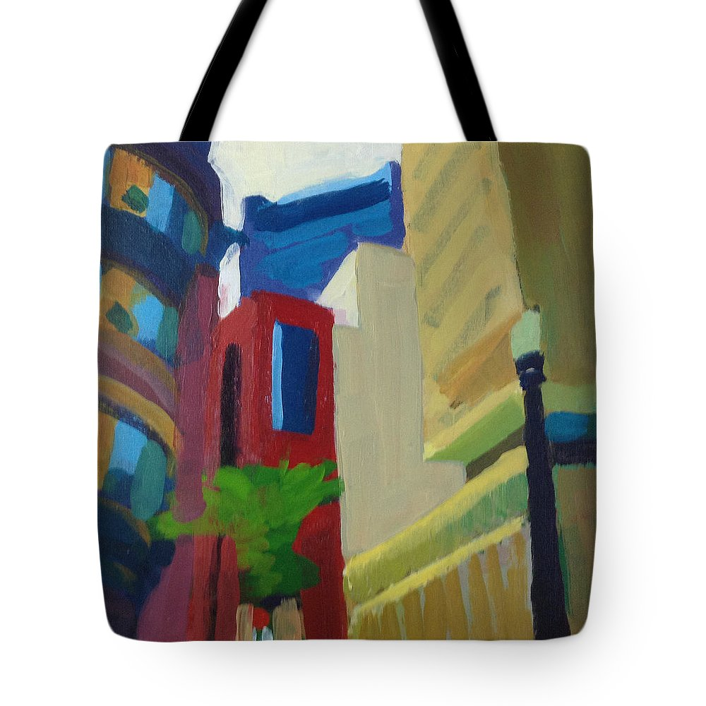 Cityscape Tote Bag featuring the painting Corner Of Oliver Street, Boston by Amy Hamlet