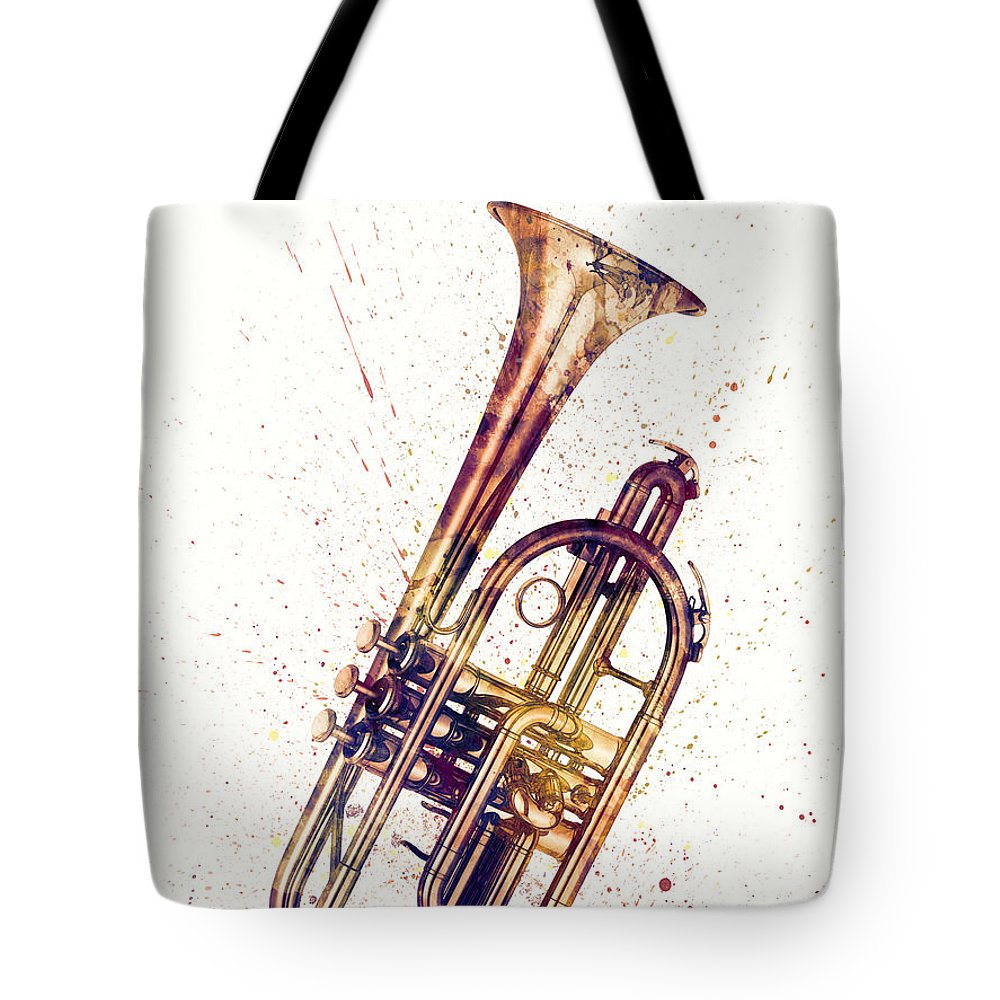 Cornet Tote Bag featuring the digital art Cornet Abstract Watercolor by Michael Tompsett