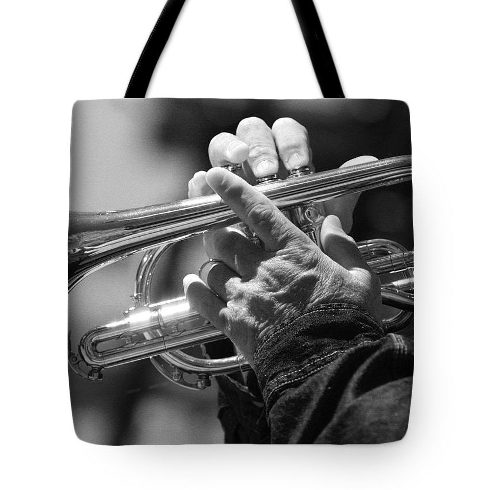 Trumpet Tote Bag featuring the photograph Cornet On Pearl In Bw by James BO Insogna