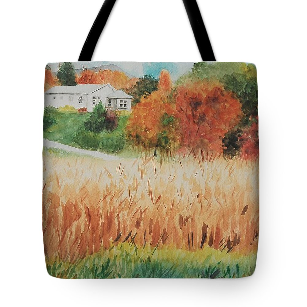 Autumn Tote Bag featuring the painting Cornfield In Autumn by Judy Swerlick