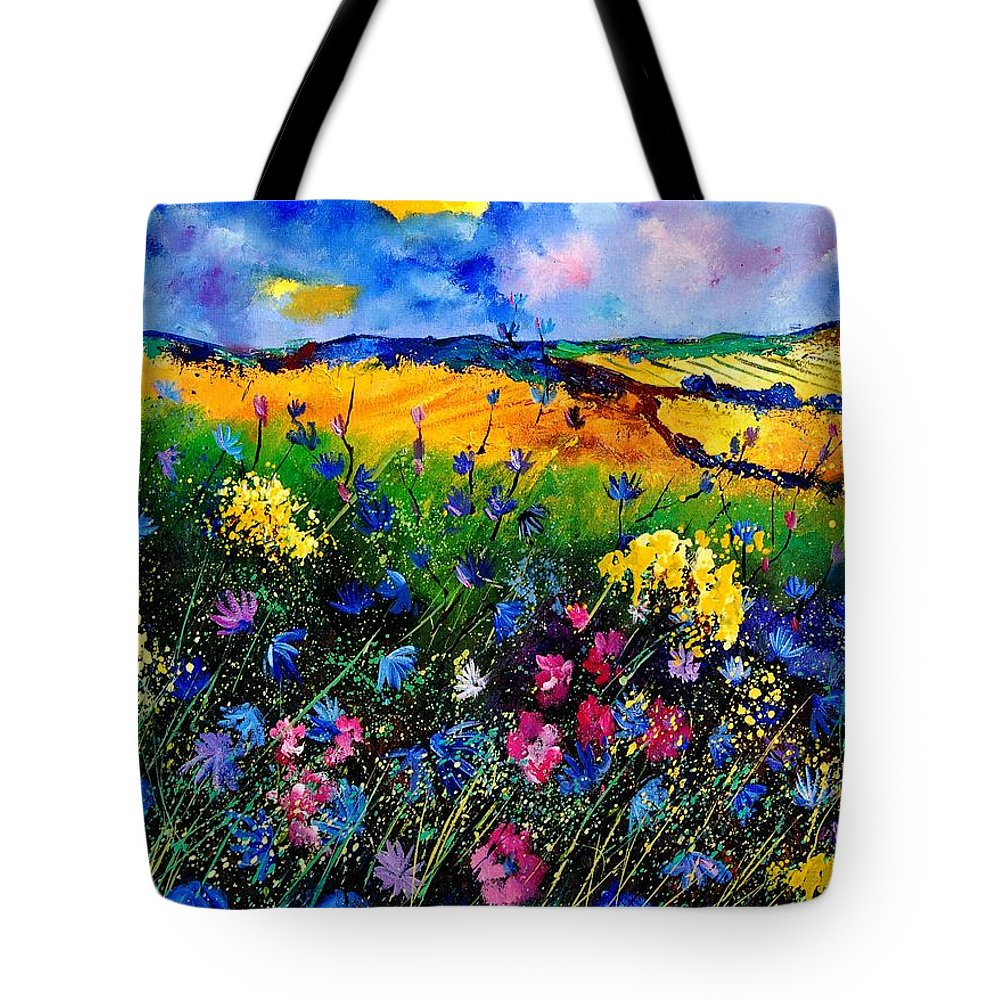 Flowers Tote Bag featuring the painting Cornflowers 680808 by Pol Ledent