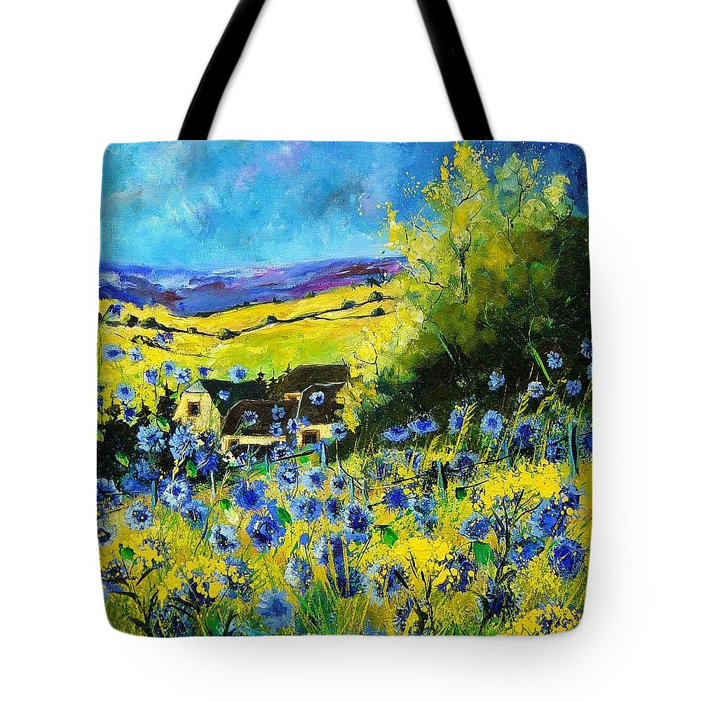 Flowers Tote Bag featuring the painting Cornflowers In Ver by Pol Ledent