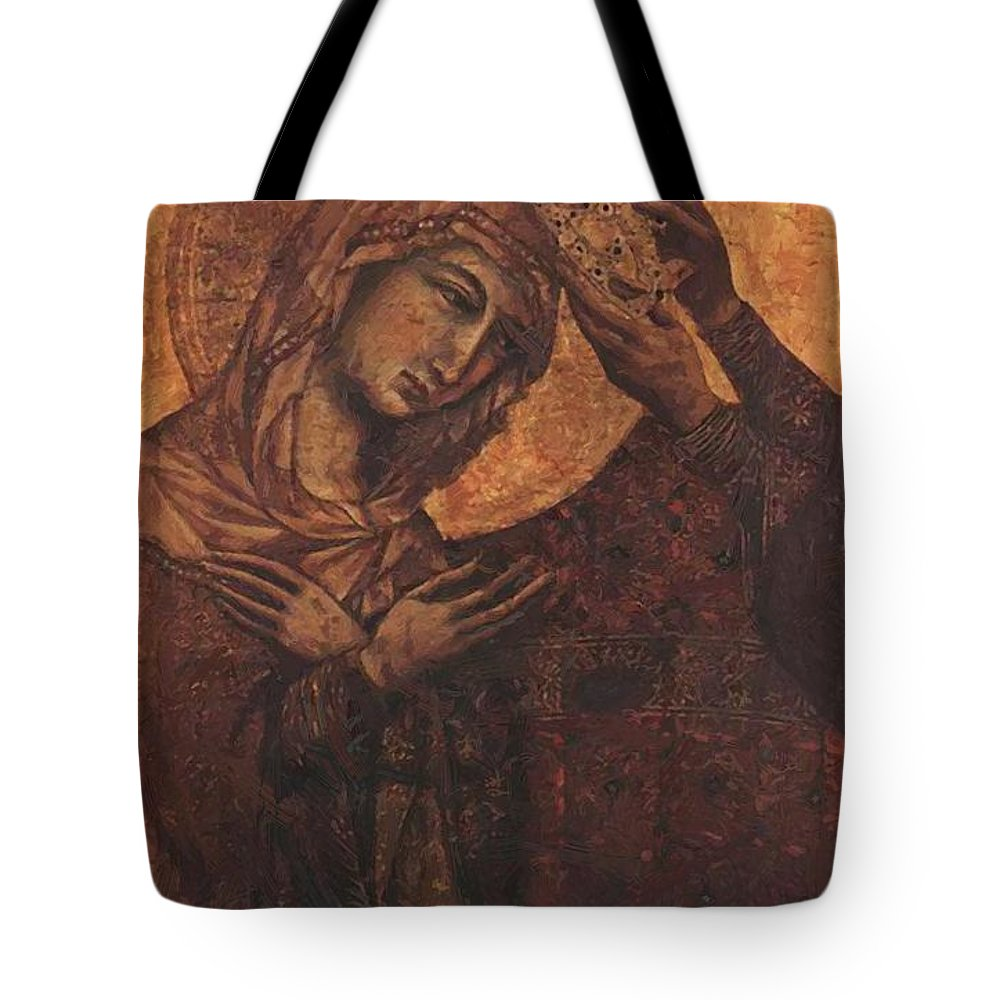 Coronation Tote Bag featuring the painting Coronation Of The Virgin 1311 by Duccio