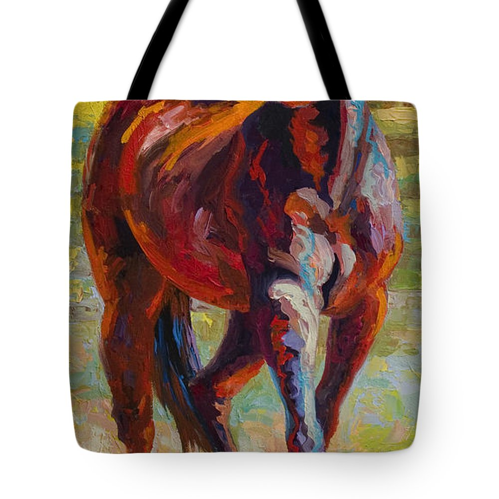 Horses Tote Bag featuring the painting Corral Boss - Mustang by Marion Rose