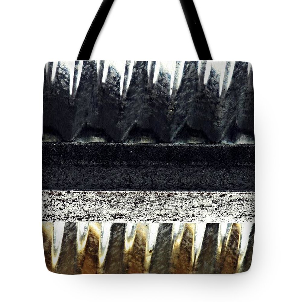 Metal Tote Bag featuring the photograph Corrugated Metal Abstract 9 by Sarah Loft