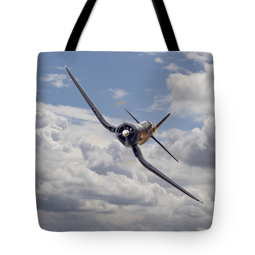 Aircraft Tote Bag featuring the photograph Corsair F4u-n by Pat Speirs