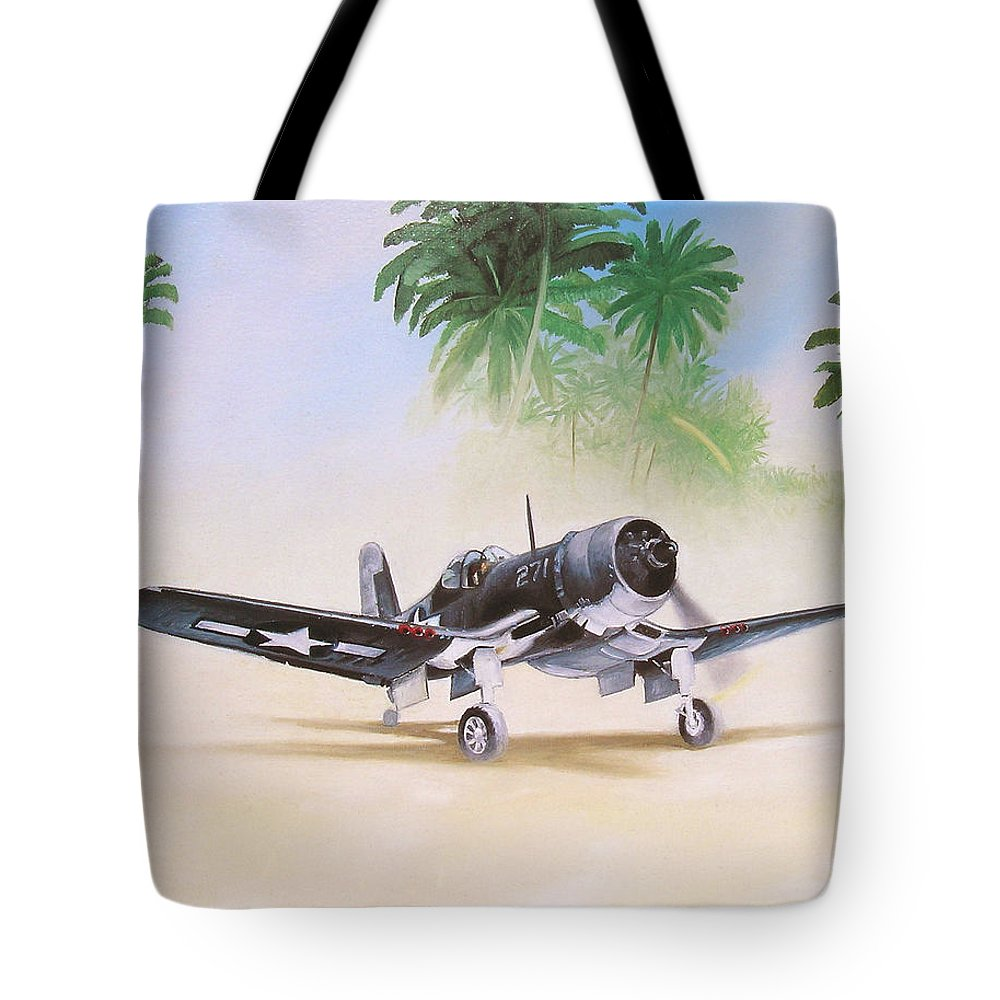 Aviation Tote Bag featuring the painting Corsair Preflight by Marc Stewart