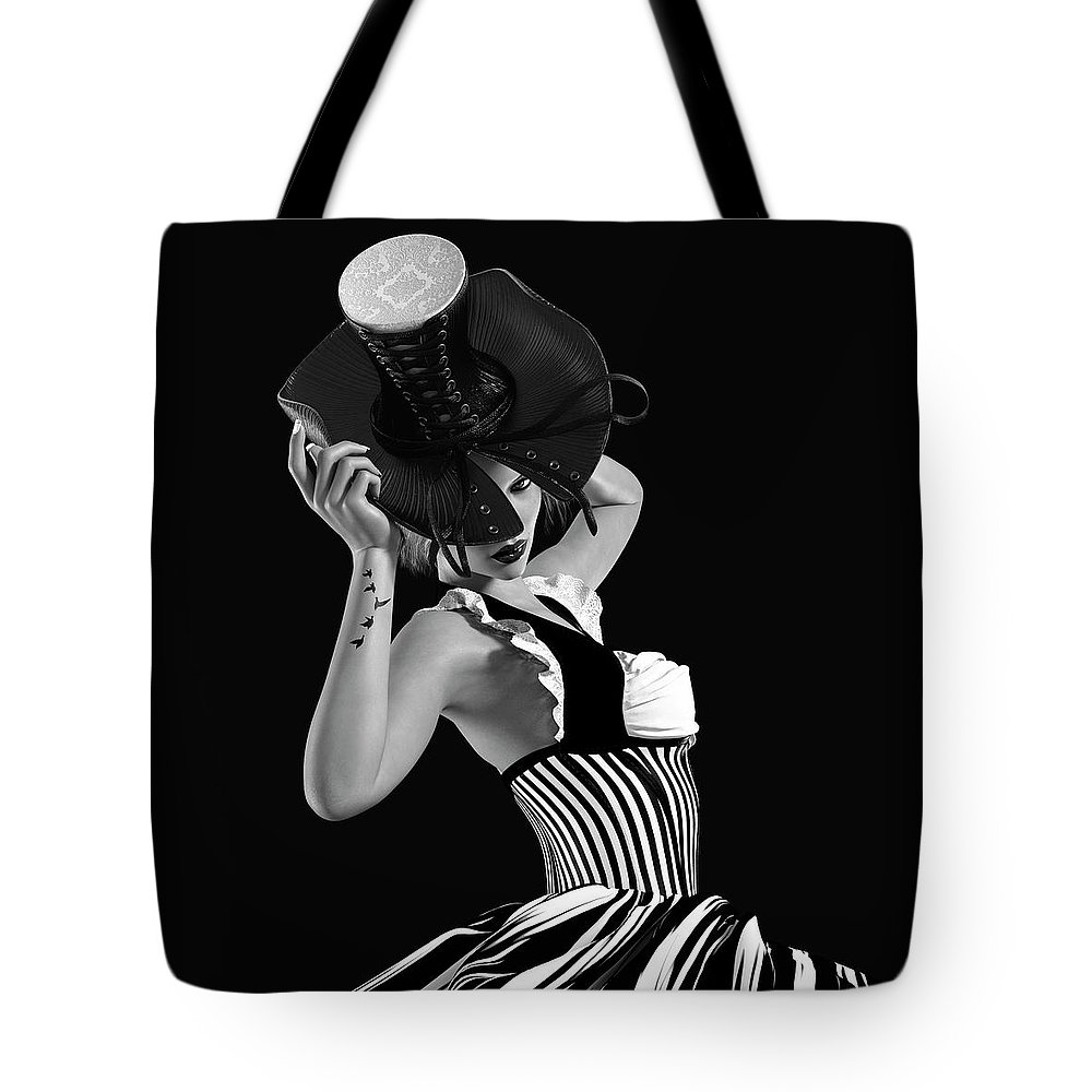 Woman Tote Bag featuring the digital art Corset Hat Lady by J Ekstrom