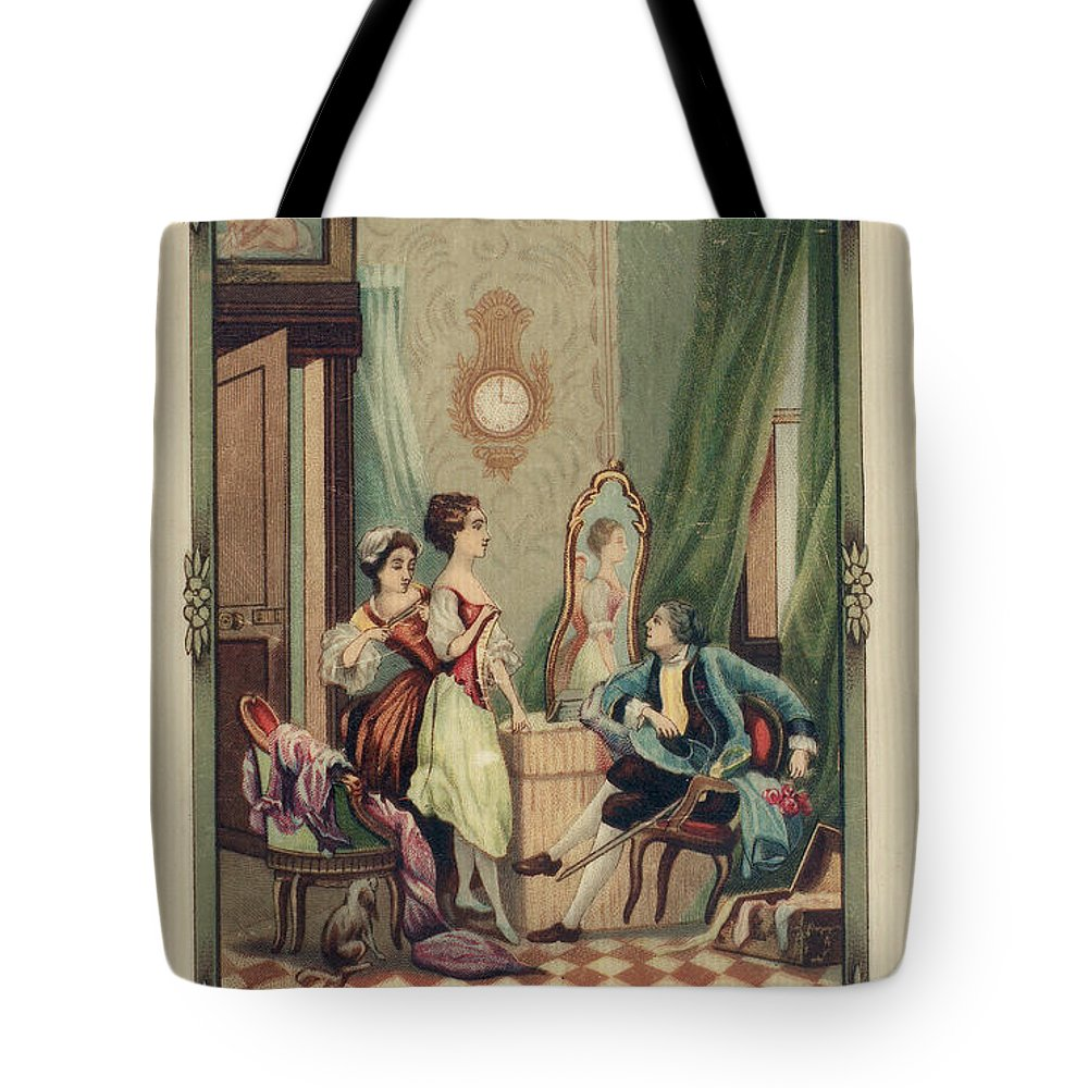 18th Century Tote Bag featuring the photograph Corset Trade Card, 1912 by Granger