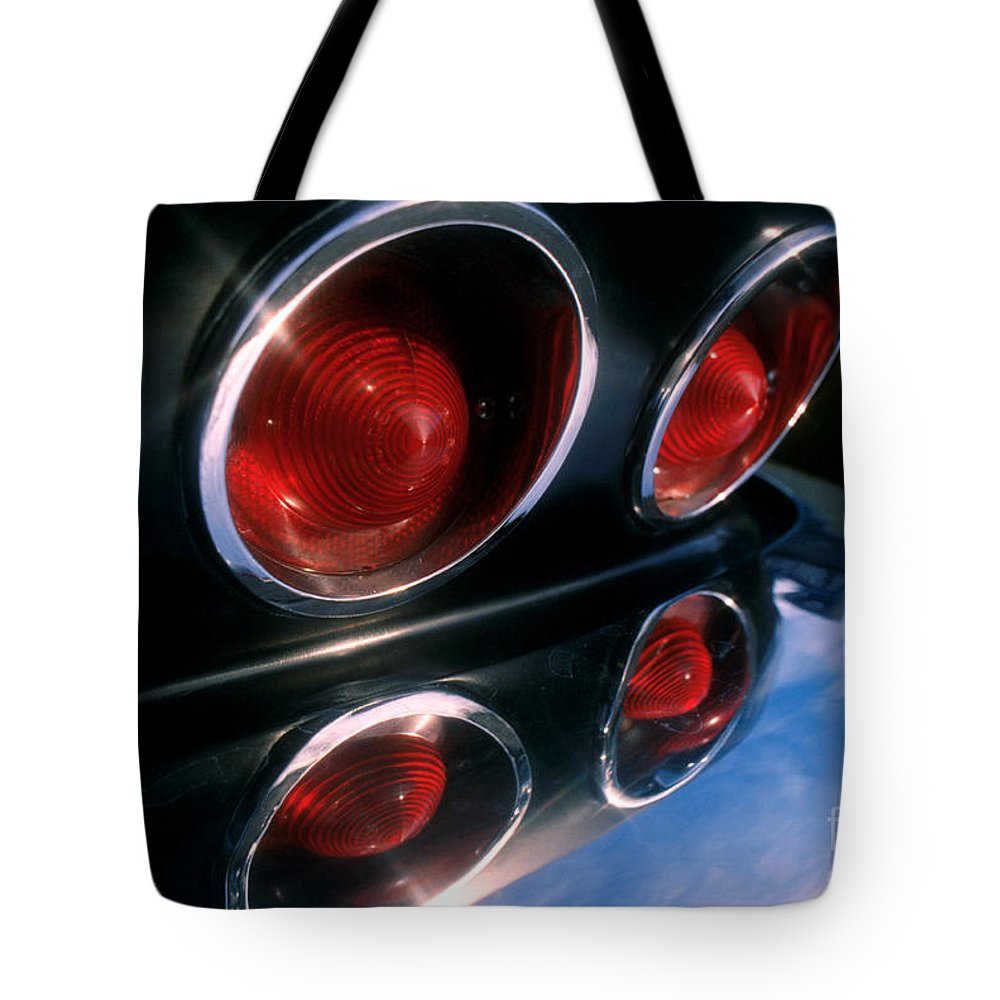 Vette Tote Bag featuring the photograph Corvette Tail Lights by Jerry McElroy