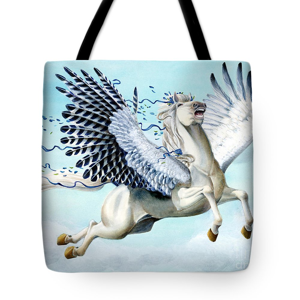 Artwork Tote Bag featuring the painting Cory Pegasus by Melissa A Benson