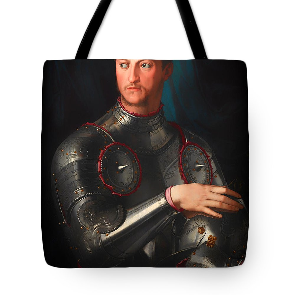 Painting Tote Bag featuring the painting Cosimo L De' Medici In Armour by Mountain Dreams