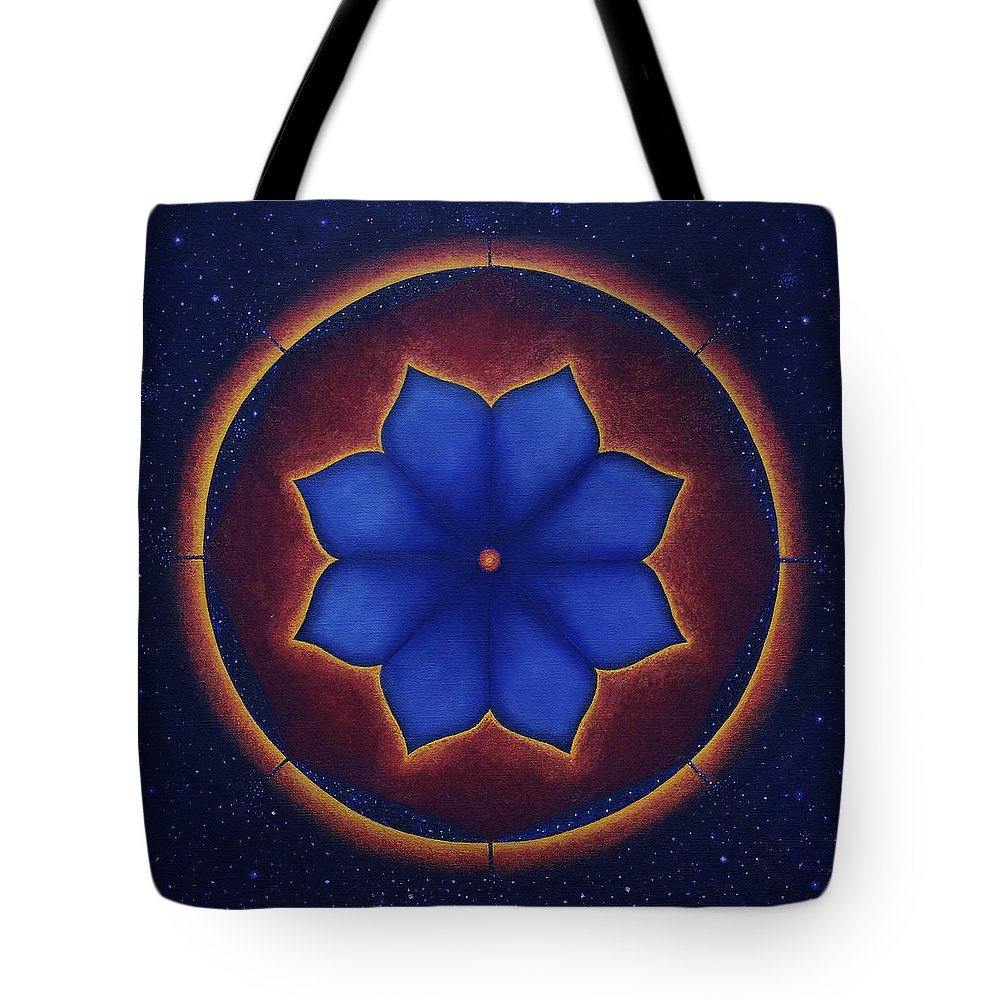 Mandala Tote Bag featuring the painting Cosmic Harmony by Erik Grind