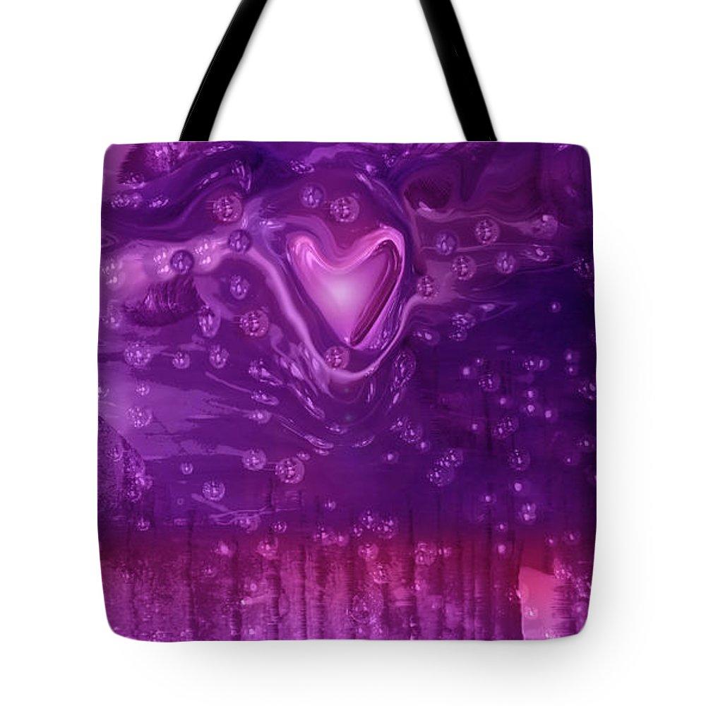 Cosmic Love Tote Bag featuring the digital art Cosmic Love by Linda Sannuti