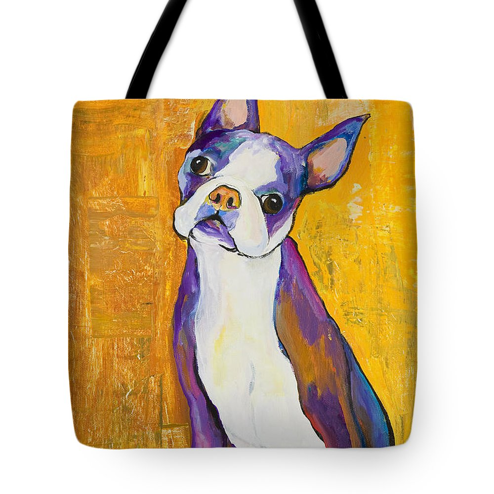 Boston Terrier Animals Acrylic Dog Portraits Pet Portraits Animal Portraits Pat Saunders-white Tote Bag featuring the painting Cosmo by Pat Saunders-White