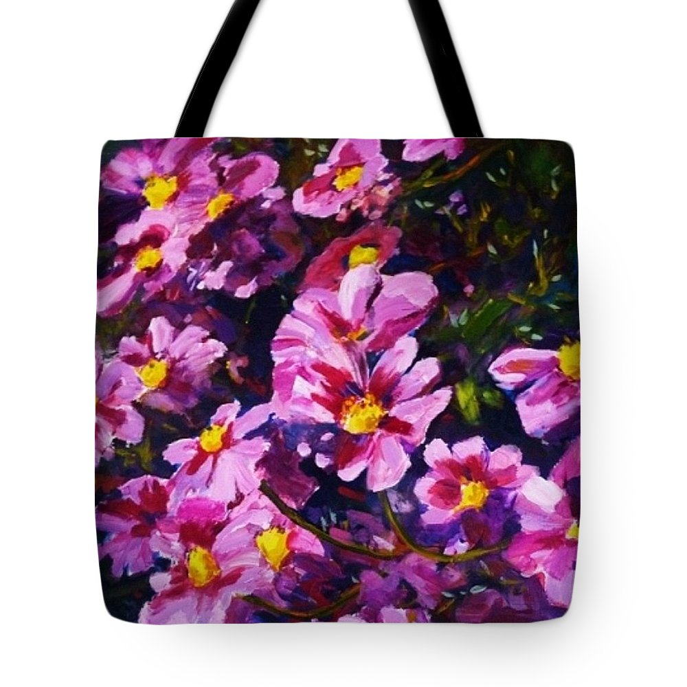Cosmos Tote Bag featuring the painting Cosmos by Margaret Plumb