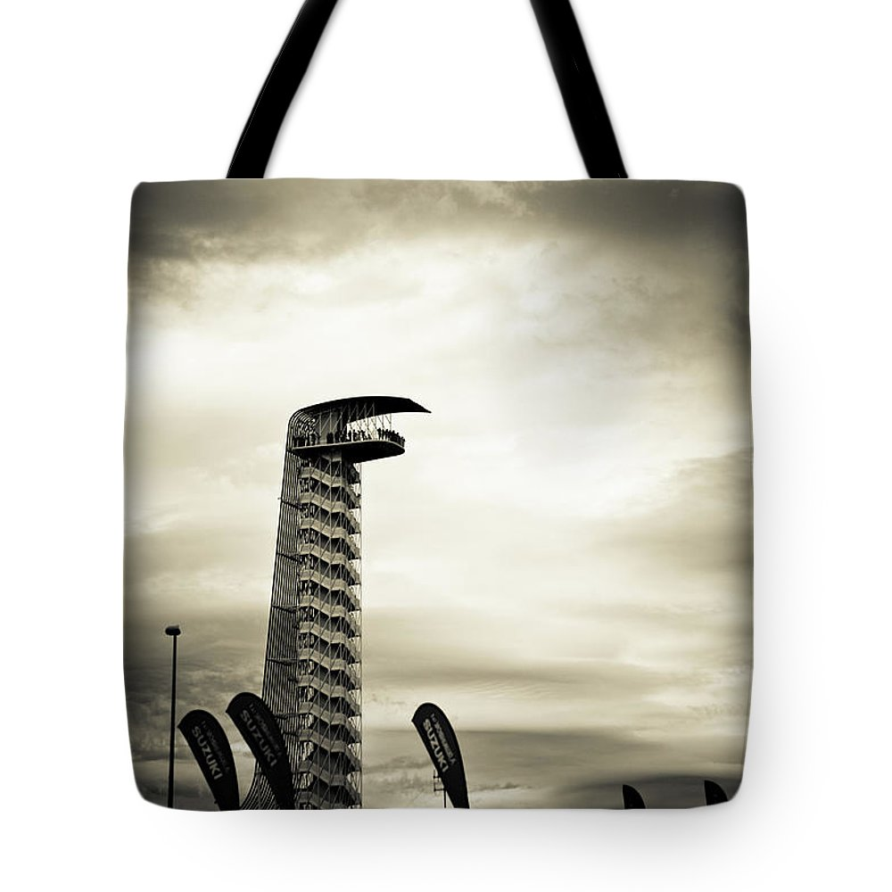 Moto Gp Tote Bag featuring the photograph Cota Tower by Timothy Lauzon