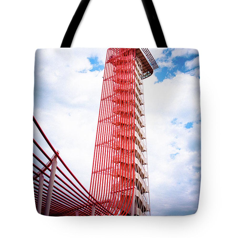 Moto Gp Tote Bag featuring the photograph Cota Towering Tower by Timothy Lauzon