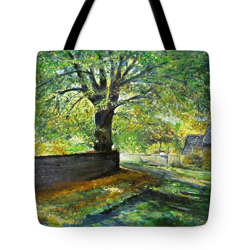 Landscape Tote Bag featuring the painting Cotswold Lane by Lizzy Forrester
