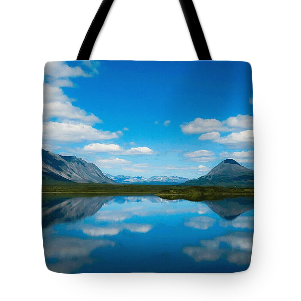 Beauty Spot Tote Bag featuring the digital art Cottage At Lake by Max Steinwald