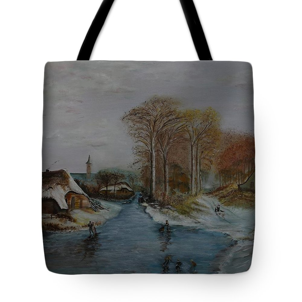 Thatched Roof Cottage Tote Bag featuring the painting Cottage Country - Lmj by Ruth Kamenev