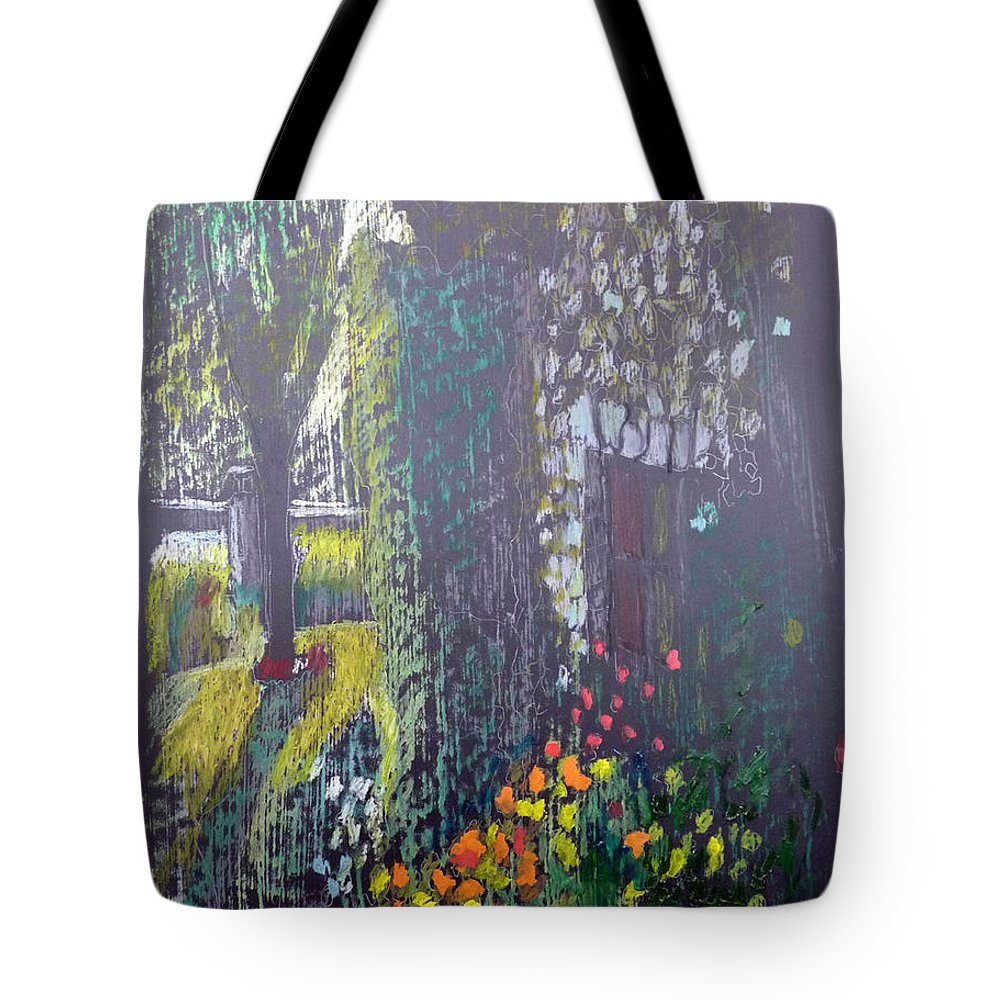 Cottage Tote Bag featuring the painting Cottage Flowers by Richard Le Page