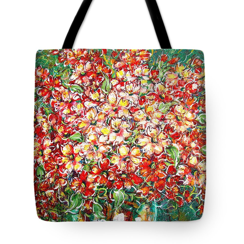 Flowers Tote Bag featuring the painting Cottage Garden Flowers by Natalie Holland