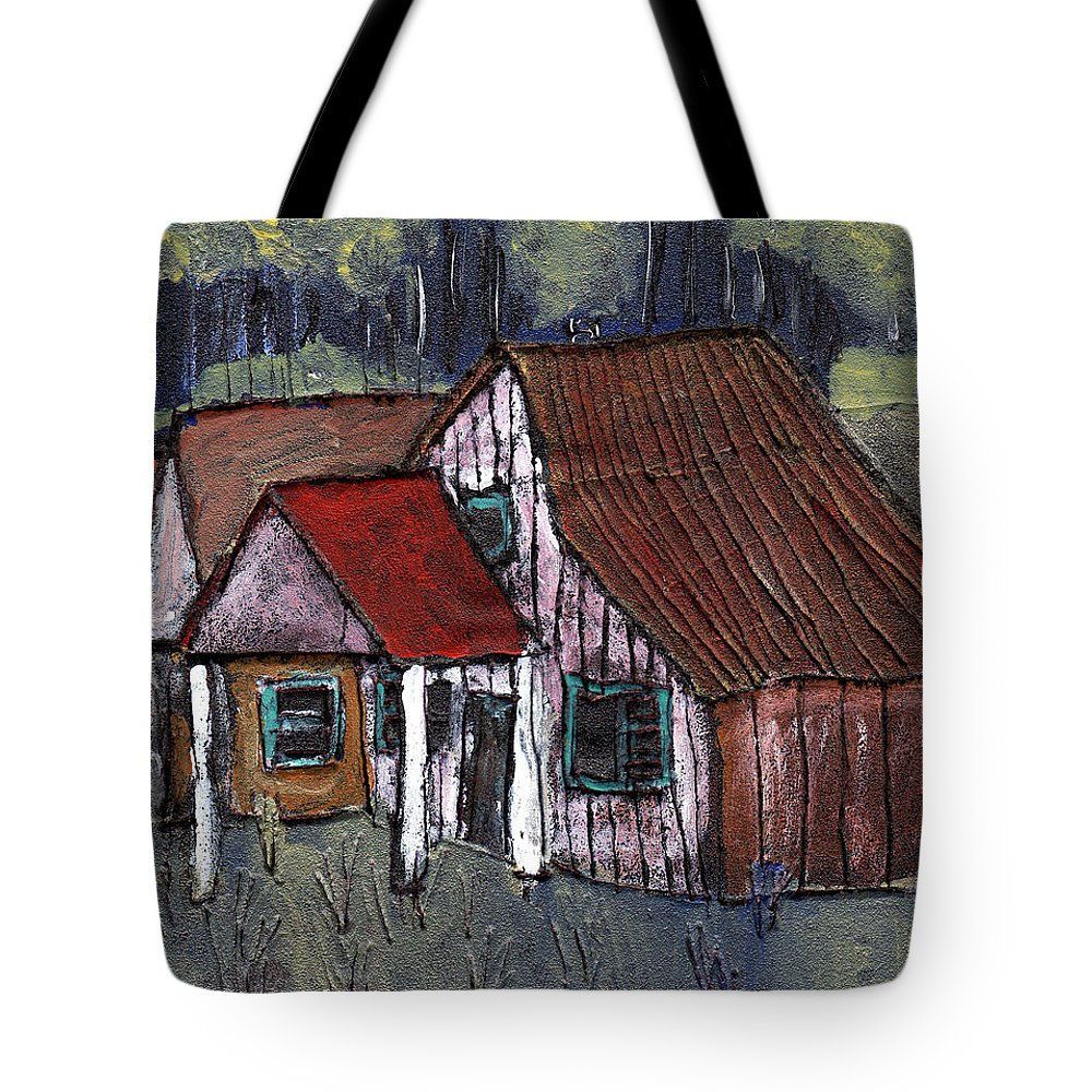 Cottage Tote Bag featuring the painting Cottage In The Woods by Wayne Potrafka