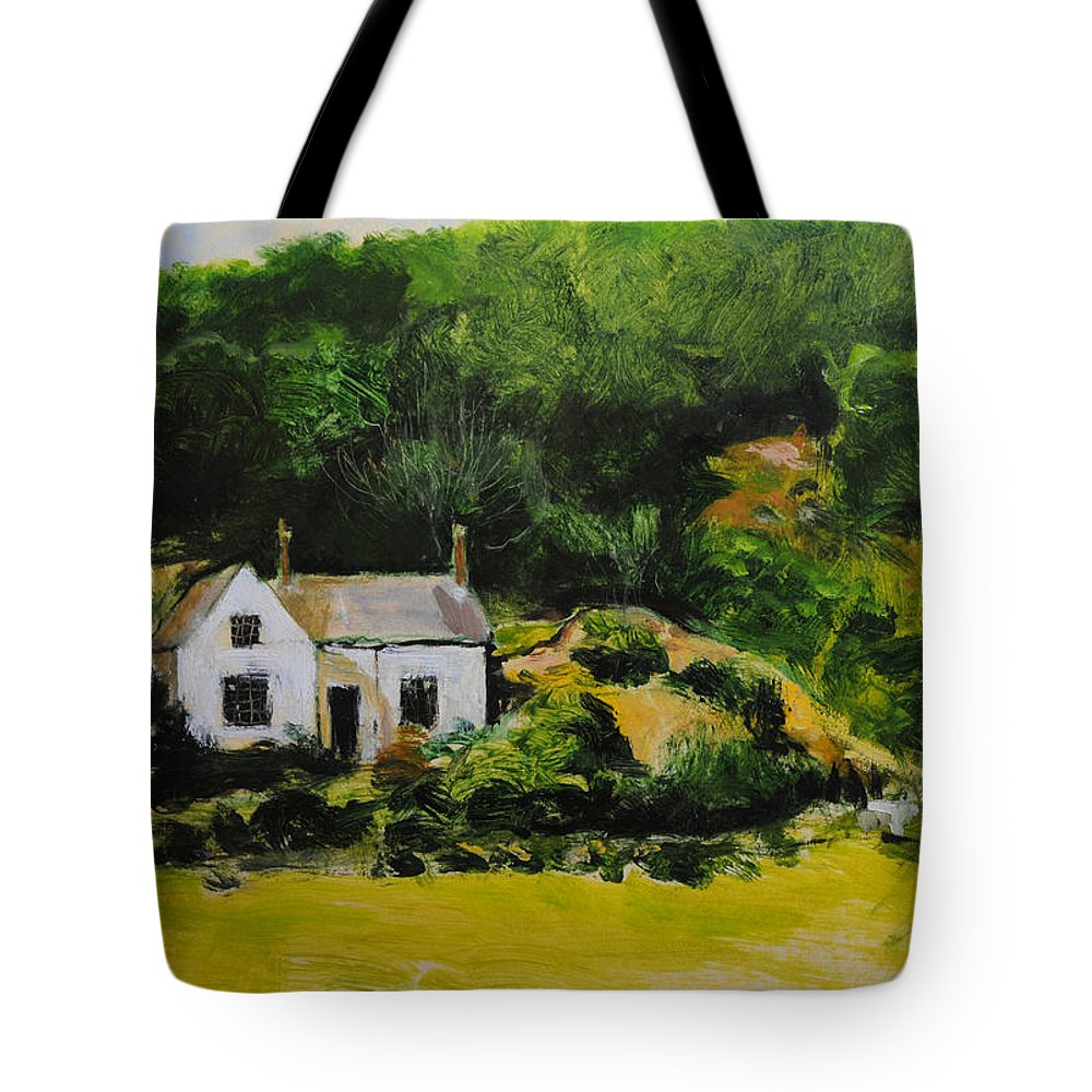 Wales Tote Bag featuring the painting Cottage In Wales by Harry Robertson