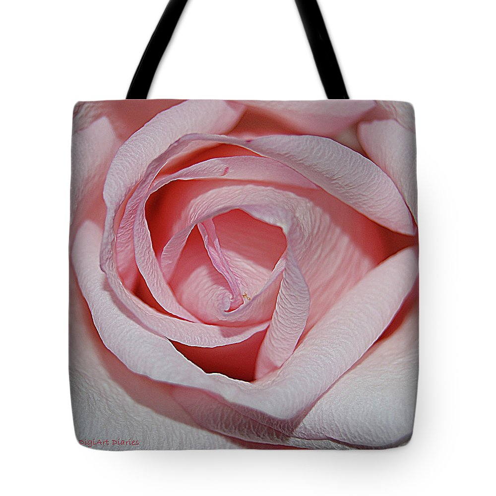 Rose Tote Bag featuring the digital art Cotton Candy Rose by DigiArt Diaries by Vicky B Fuller