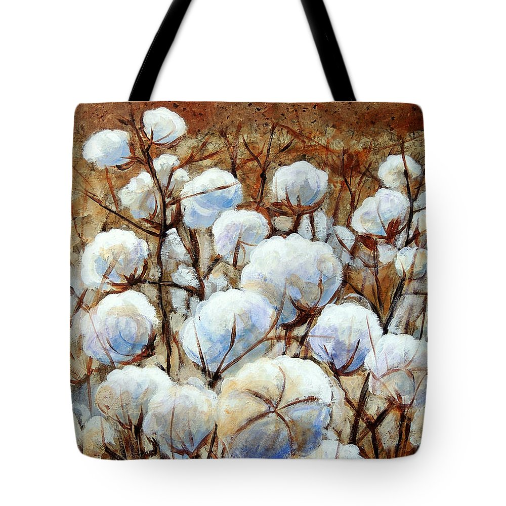 Landscape Tote Bag featuring the painting Cotton Fields by Candy Mayer